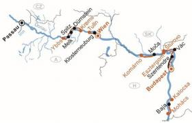 Boat and bike tour on the Danube - map