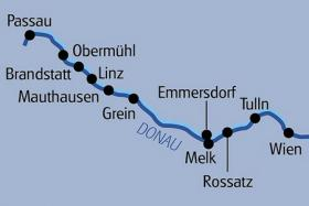 From Passau to Vienna by boat and bike - map