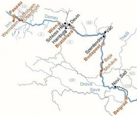 Boat & Bike - from Passau to Belgrade - map